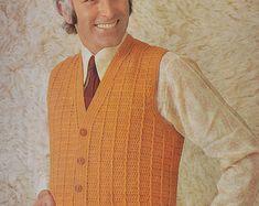 Crochet Patterns Men PDF crochet men& waistcoat vest vintage by TheVintageWorkbox, Crochet Vest Pattern, Knitting Patterns, Crochet Patterns, Sweater Patterns, Crochet Waistcoat, Men's Waistcoat, Crochet Men, Crochet Hooks, Vintage Knitting