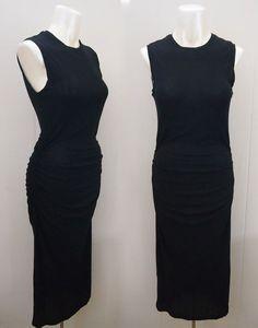 JAMES PERSE Classic Black Sleeveless Cotton Ruched Tank Dress sz 2 (Small 4/6 ) #JamesPerse #SleevelessTankDress #Casual