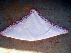 Vintage Handkerchief White & Pink by TheBackShak on Etsy, $3.75