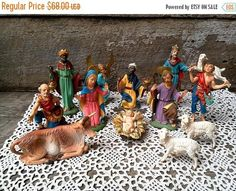 SALE Vintage nativity set depose italy figurines christmas