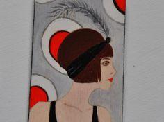 Pendente anni '20 in legno dipinto a mano    20th style wood pendent, hand painted di ReFuseAccessory su Etsy