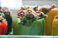Quinoa Stuffed Peppers (*Gluten Free)  Yum!  Such a healthy dinner!  Great way to get a ton of veggies into one meal! :) Loved it!  Adapted from Kimberly Snyder's Beauty Detox recipes!  Pin It!!!
