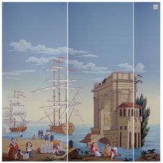 French mural, place order from China, enjoy factory price http://www.chinoiseriedecor.com/