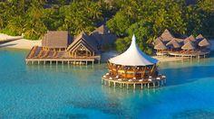 Restaurant on stilts - at the Baros Maldives resort. Baros Island, North Male Atoll.