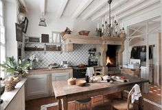 rustic gustavian decor | This is such an inviting kitchen .