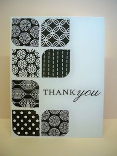 """Use scraps of black and white designer paper to make squares with rounded corners.  Line them up and add """"thank you"""" for an easy handmade thank you card."""