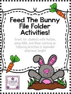 """Are you working on following directions, spring/Easter vocabulary, and expanding utterance length?  How about color, verb, or adjective vocabulary?!  Check out this fun file folder activity!!This activity includes a """"feed the bunny"""" activity in which students follow directions provided to feed the bunny various foods.Tons of sentence strips are provided.Follow-up activities and worksheets are included as well!Speech Time Funspeechtimefun.blogspot.com"""