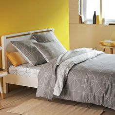 Vidmey Cotton Duvet Cover La Redoute Interieurs The Vidmey duvet cover plays around with contrasts featuring graphic motifs and soft colours.Vidmey duvet cover:Reversible duvet cover: white motif on...