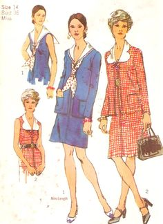 70s Nautical Dress Retro sailor style cardigan outfit Simplicity 9919 Vintage sewing pattern Bust 36 UNCUT by HeyChica on Etsy https://www.etsy.com/uk/listing/265776381/70s-nautical-dress-retro-sailor-style