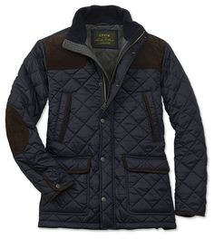 Just found this Mens Navy Quilted Jacket With Suede - Quilted Jacket with Suede -- Orvis on Orvis.com!