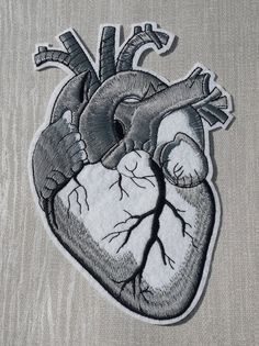 87d6e6abd9fea1 Large Silver Grey Anatomical Heart Embroidered Patch Applique Diy Patches,  Pin And Patches, Back