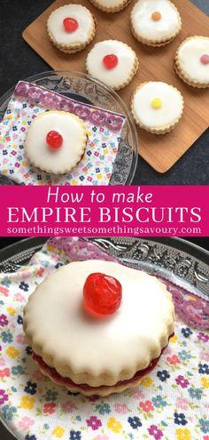 Scottish Desserts, Scottish Recipes, Easy Cake Recipes, Baking Recipes, Cookie Recipes, Empire Biscuit Recipe, Traditional Scottish Food, Empire Cookie, Iced Biscuits