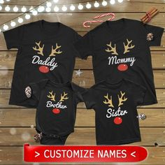 Rudolph Reindeer Set Christmas Matching T-Shirts, Custom personalized Shirts, Couple Christmas Pajamas, Family Christmas Shirts, Gifts Cute Christmas Pajamas, Family Christmas Outfits, Christmas Shirts For Kids, Xmas Shirts, Christmas Couple, Kids Christmas, Christmas Sweaters, Matching Family T Shirts, Family Shirts