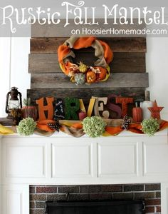 Rustic Fall Mantel :: Easy to find decorations are added to warm up this Mantel from HoosierHomemade.com #Decorating, #Fall, #Mantel: