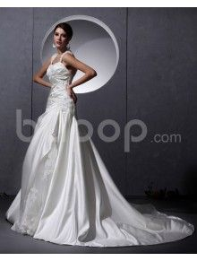 Yarn Satin Sweetheart Chapel Train A-Line Wedding Dress with Embroidered and Ruffle