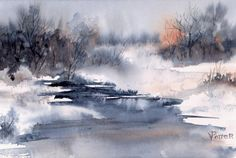 Winter Idyll by Virginia Potter : Winter Painting - Winter Idyll by Virginia Potter Watercolor Projects, Watercolor Trees, Watercolor Landscape, Abstract Watercolor, Watercolor And Ink, Abstract Landscape, Landscape Paintings, Watercolor Paintings, Watercolors