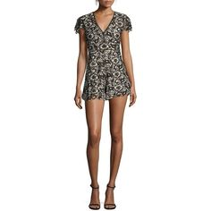 Alice + Olivia Tinsley Lace Romper ($440) ❤ liked on Polyvore featuring jumpsuits, rompers, apparel & accessories, deep v neck romper, floral romper, open back romper, floral print romper and lace rompers