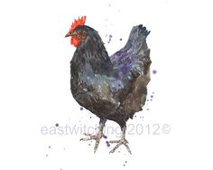 Black Chicken Print, Rustic Kitchen Art