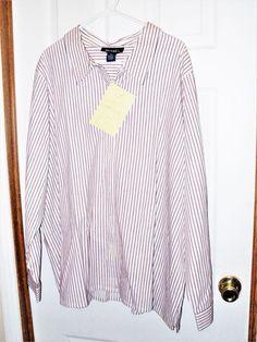 QVC Style Denim & Co. Woman's 3X White w/ Pink Stripes Button Up Dress Shirt NWT #DenimCo