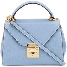 Mark Cross Baby Hadley Flap Bag ($1,727) ❤ liked on Polyvore featuring bags, handbags, blue, blue leather purse, blue leather handbag, leather purse, blue purse and genuine leather bag