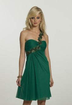Homecoming Dresses - One Shoulder Dress with Floral Applique from Camille La Vie and Group USA