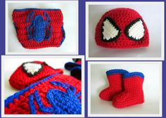 spider-man hat, diaper cover, and booties set. #crochet