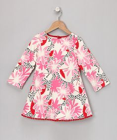 Take a look at this Pink Long-Sleeve Pom-Pom Dress - Infant, Toddler & Girls by Jen Jen on #zulily today!