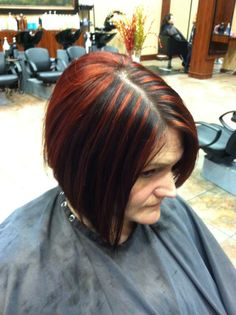 Red highlights on dark brown hair. Inverted bob. Loreal professional inoa and richesse