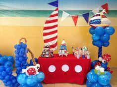 Balloons nautical on pinterest balloons nautical for Anchor balloon decoration