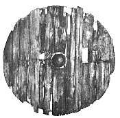 """A few shields have survived from the Viking age, notably the shields from the Gokstad ship, which date from the 10th century. The ship was equipped with 32 shields, several of which survive intact. They were made from a single layer of planks butted together, with no iron bands, and the fronts were painted black and yellow.   Typical Viking shields were 80-90cm (32-36 inches) in diameter. Some were larger, such as the Gokstad shields, which were 94cm (37in) across."""