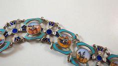 VTG Egyptian Revival Enamel Decorative Scenic Bracelet