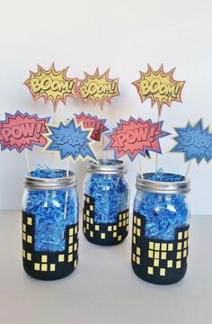 Your place to buy and sell all things handmade - Batman Decoration - Ideas of Batman Decoration - SuperHero Party Centerpieces Boys Birthday Decor Batman Superman and Spiderman Mason Jar Centerpieces Superhero In Training Baby Shower Spider Man Party, Fête Spider Man, Avenger Party, Batman Birthday, Boy Birthday, Incredibles Birthday Party, Spiderman Birthday Ideas, Birthday Table, Super Hero Birthday