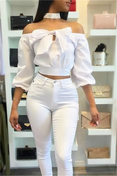 Lovely Stylish Bateau Neck Long Sleeves Bow-Tie Decorative Blue Cotton Shirts(Without Choker) Teen Fashion Outfits, African Fashion Dresses, Classy Outfits, Stylish Outfits, Cute Outfits, Women's Fashion, Off Shoulder Fashion, Bow Blouse, White Off Shoulder