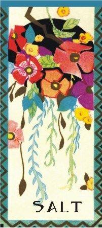 "Floral decorated art deco spice label ""Salt"""
