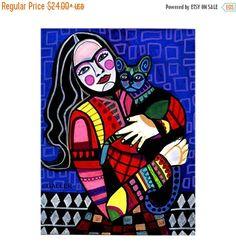 50% de descuento toda Frida Kahlo y gato por HeatherGallerArt