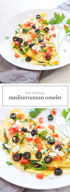 Low Fodmap Mediterranean Omelet is stuffed full with spinach, tomato, olives and feta - a yummy, savory breakfast! Omit feta for an easy Whole30-friendly recipe!