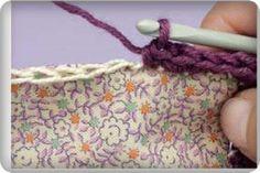 Обвязывание края крючком и соединение с его помощью деталей из ткани или кожи.
