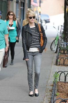 The Fashion Dealer: Emma Stone: Motorcycle Chic Street Style in NYC