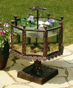 outdoor steampunk aquarium, Garden Decor Idea, Water Lily?