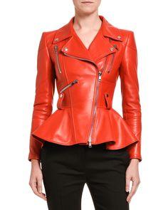 Alexander Mcqueen Lamb Leather Crop Peplum Jacket In Red Peplum Leather Jacket, Leather Jackets, Biker Jackets, Timeless Fashion, Luxury Fashion, Alexander Mcqueen Clothing, Blazer, Quilted Leather, Moto Jacket
