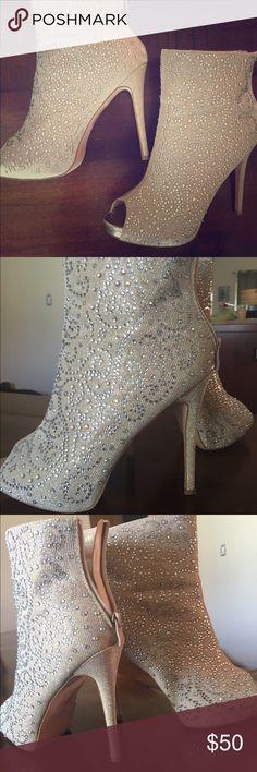 Lauren Lorraine crystal platform bootie Beautiful crystal decorated bootie, size 8.5, worn once. Lauren Lorraine Shoes Heels