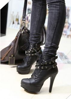 Tower Buckle Rivets Heeled Platform Lace Up Women Ankle Boots on BuyTrends.com, only price $28.75