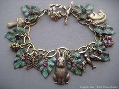 Charm Bracelet Rabbit Bracelet Rabbit by SilverTrumpetJewelry Leaf Jewelry, Charm Jewelry, Charm Bracelets, Bangle, Jewellery, Silver Trumpet, Vine Design, Amethyst Crystal, Brass Chain