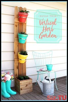 Easy 3 Plank Hanging Herb Garden Porch Herb Garden Ideas Porch Herb Garden Diy B. Vertical Herb Gardens, Vertical Planter, Herb Planters, Herb Garden Planter, Balcony Garden, Hanging Planters, Planter Pots, Clay Flower Pots, Flower Pot Crafts