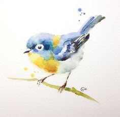 Watercolor Bird Print 8 x 8 inches by CMwatercolors on Etsy