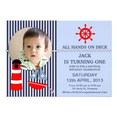 Boys Nautical Birthday Party Invitation