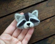 Needle felted raccoon broch
