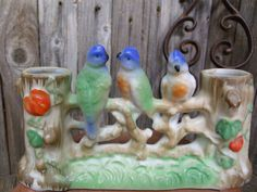 Cute Occupied Japan Vintage Ceramic 3 Birds on by TheRustyChicken, $39.95