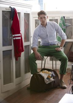 A man in green pants is ALWAYS attractive to me.. He looks adorable.
