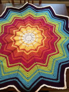Ravelry: Project Gallery for Rainbow Ripple Baby Blanket pattern by Celeste Young graduating stripes Crochet Star Blanket, Crochet Star Patterns, Baby Afghan Patterns, Crochet Granny Square Afghan, Crochet Stars, Crochet Afghans, Crochet Blankets, Granny Squares, Baby Blankets